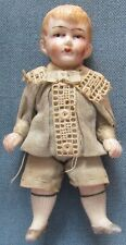 Vintage bisque boy doll in traditional Victorian dress; movable arms & legs (10)