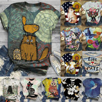 Womens Summer Short Sleeve T Shirt Blouse Ladies Cat Print Basic Tee Tops Plus