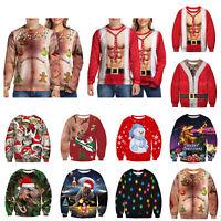 S-3XL Christmas Sweater Funny Ugly Women Men Xmas Jumper Sweatshirt Pullover Top