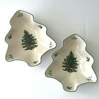 """Spode Christmas Tree Shaped Bowl 6"""" Set of 2 Green Trim Small Candy Dish Holiday"""