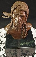 Solid Bronze Bust Indian Warrior Sculpture on Marble Base Signed Baldwin 79 ~WoW