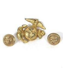 Usmc Marine Corps Combination set Gold Chin Strap Button & Badge #B11