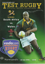 South Africa v Wales 2nd Test 15 Jun 2002 Cape Town RUGBY PROGRAMME