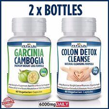 60 Ultra Pure Garcinia Cambogia + 60 Colon Detox Diet Slimming Weight Loss Pills