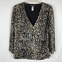 Jones New York 2X Blouse Animal Print Leopard Crossover Front 3/4 Sleeve Top