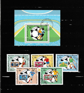 Komp.-Satz + Block-Fußball-WM 1986-Mexiko - gestempelt-1986 aus -Mauretanien