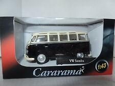 Cararama 4-60343 1/43 O Scale Volkswagon VW Samba Bus T1 Black Cream c/w Towbar