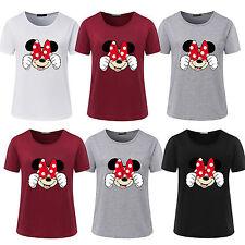 mode femmes manches courtes été Minnie Mouse CHEMISIER Hauts décontractés