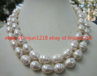 Huge 11-13MM WHITE FRESHWATER Cultured BAROQUE PEARL NECKLACE 34 INCH