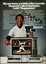 1980 Reggie Jackson MLB photo Panasonic vcr tv camera vintage print ad ads47
