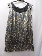 GOLD & GREY FULL SEQUIN KNEE LENGTH DRESS SIZE 14 BY PLANET