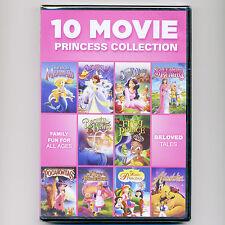 10 Movie Princess Collection DVDs children fairy tales Mermaid Cinderella Alice