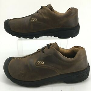 Keen Lace Up Hiking Shoes Mens 9.5 Brown Nubuck Leather Split Toe Comfort 0708