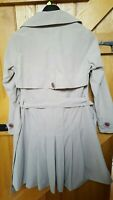 M&S Per Una Raincoat Size 10 Beige Trench Style, Pleated Skirt Quirky Collar
