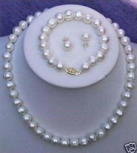 Natural Pearl 8-9mm Real White Cultured Pearl Necklace Bracelet Earring Set
