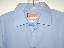 THOMAS PINK  SHIRT FRENCH CUFFS BLUE CHECKED MENS Size 16 34 1/2 Vintage 1990's