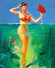 Vintage Pinup Girl A4 Surprising Catch Canvas Art Print Gil Elvgren