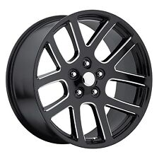 "4) 20"" 20x9 SRT10 Style Fits Dodge Ram 2002 - 2016 Wheels Rims Ball Milled Black"