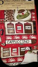 New cappuccino coffee kitchen towel set 5 pieces potholders mitt great gift