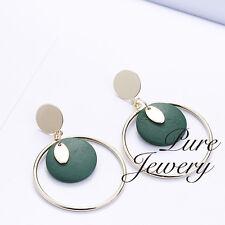 Drop big circle earrings green wood staring handmade woman earrings