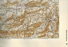 histor. farbige Landkarte Wettersteingebirge, Wetterstein 1:100.000, Meyers 1935