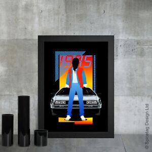 Marty A3 Poster Print 80s Retro Future Movie Sci Fi Delorean Car Time Machine