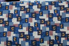 100 % Cotton fabric ~ Blue checks with Bears ~ BTY