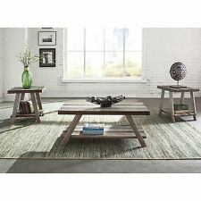 Rustic Industrial Coffee Table Set 3 Piece Accent End Solid Wood Tables NEW