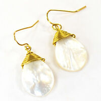 Natural White Mother Of Pearl Teardrop Beads Gold Handcrafted Earring (ER234)a