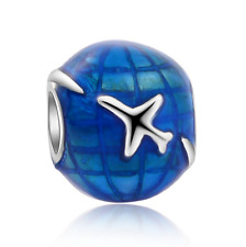 Aircraft Earth Silver Painted Charm Beads Fit sterling Bracelet Necklace #F312
