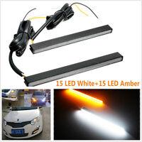 Waterproof Ultra Slim White/Amber Switchback LED Daytime Running Lights DRL Car