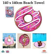Giant Donut Toalla de Playa Toalla De Baño De Vacaciones Novedad Rosa manta de viaje 140x140cm