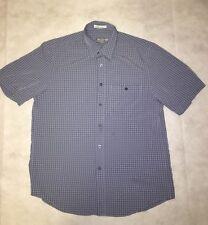 Mens Tilley Endurables Nanotex Shirt Button Up Short Sleeve Medium Blue EUC