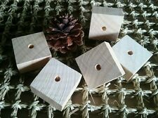 5 x Unfinished Pine Wood Squares 4x4x2cm- Natural Craft Large Pet Bird Toy Parts