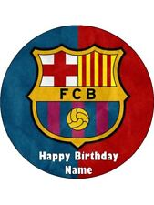 "BARCELONA SOCCER 19CM EDIBLE WAFER TOPPER & 12 BONUS 2"" WAFER CUPCAKE TOPPERS"