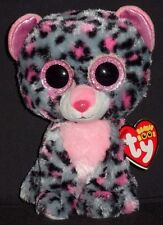 """TY BEANIE BOOS - TASHA the 6"""" PINK and GRAY LEOPARD - MINT with NEAR MINT TAG"""