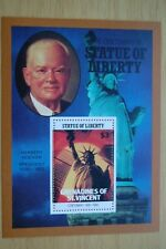 El presidente de Estados Unidos Herbert Hoover Estatua de la libertad 1986 St Vincent Sello hoja estampillada sin montar o nunca montada