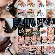 Silver Ring Geometric Hoop Earrings Crystal Womens Jewellery Party Wedding Gift