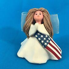 """Kneeded Angels Patriotism 6009 Praying Angel Figurine USA American Flag 3.25"""""""