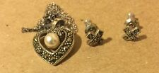 Sterling Silver heart pearls and marcasite Pendant Necklace and earring Set