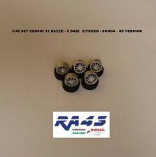 1/43 Set ruote cerchi gomme Wheels rims tire Citroen Skoda R5 version