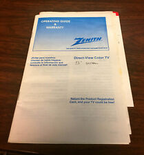 Zenith Direct-View Color Tv Operating Guide & Warranty manual Model Sms1324S