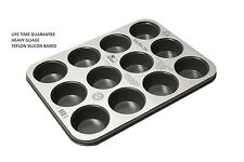 12 DEEP CUP NON STICK MUFFIN FAIRY CAKE TRAY TIN WITH TEFLON SILICON COATING