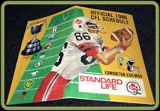 1986 STANDARD LIFE CFL FOOTBALL SCHEDULE ESKIMOS ARGONAUTS ROUGHRIDERS LIONS