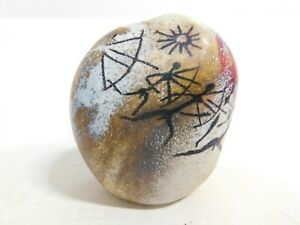 """Signed RICHARD SATAVA 3-3/4"""" Tall Petroglyph Hand Crafted Paperweight Chico CA"""