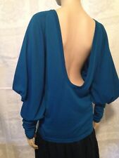$2600 VERSACE COUTURE Open Back Blue Wool Sweater Top 40