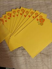 Vintage Mod Stationary 1970 Flowers with Yellow  Mid-Century, set of 11