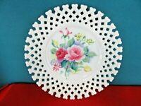 Vintage Decorative Plate White Lattice Roses in Center LEFTON Hand Painted Japan