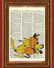 Pokemon Pikachu Raichu Dictionary Art Print Poster Picture Anime Manga Pichu
