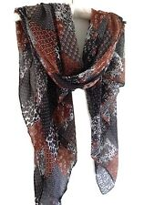 Boho Gypsy Black Tan White Floral Beautiful Patchwork Print Pashmina Scarf Wrap